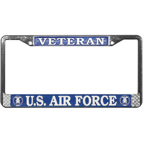 U. S. Air Force USAF Veteran Chromed Steel License Plate Frame (LFAFV)