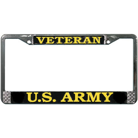 U. S. Army Veteran Chromed Steel License Plate Frame (LFAV)