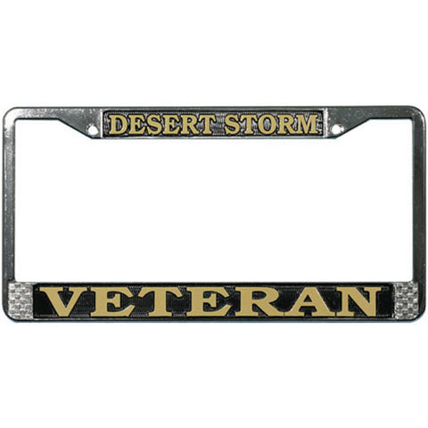 Desert Storm Veteran Chromed Steel License Plate Frame (LFDSV)