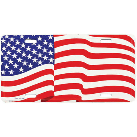 USA Wavy Flag Patriotic American Metal License Plate (LFLAG)