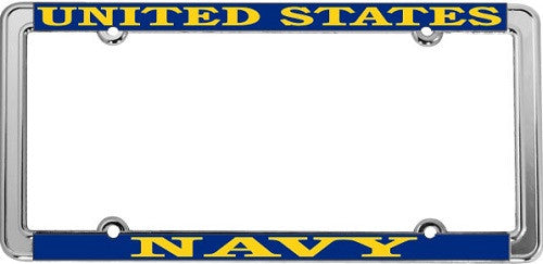 United States Navy USN Chromed Steel Thin Rim License Plate Frame (LFNTH-01)