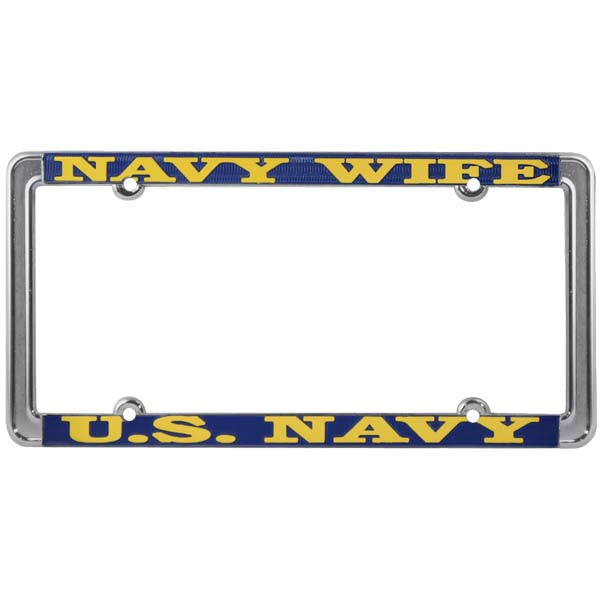 "U. S. Navy USN ""Navy Wife"" Thin Rim Chrome Steel License Plate Frame (LFNTH-12)"
