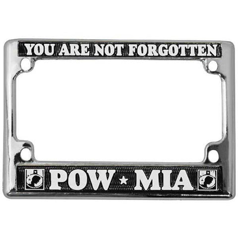 POW/MIA Chrome Motorcycle License Plate Frame (LFPOW(M))