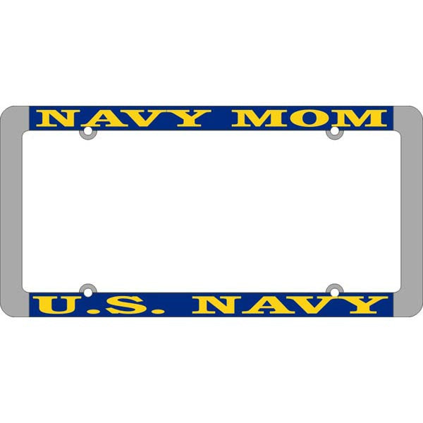 "U. S. Navy USN ""Navy Mom"" Chromed Steel License Plate Frame (LFNTH-06)"