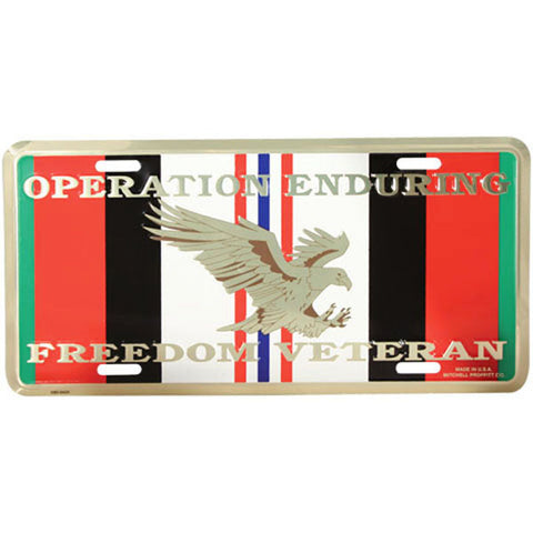 Operation Enduring Freedom OEF Metal License Plate (LOEF)