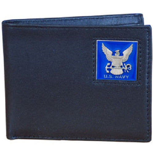 U. S. Navy Bi-Fold Leather Wallet USN Veteran