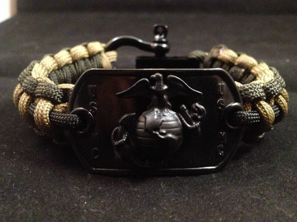 Officially Licensed U. S. Marine Corps Paracord Survival Bracelet W/Black Adjustable Shackle (Black)