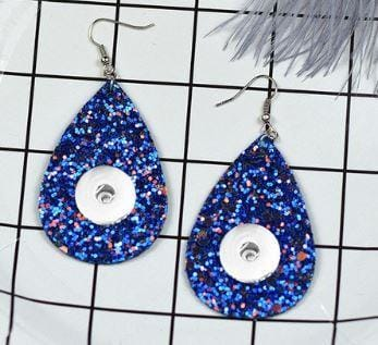 Large Dangle Snap Glitter Earrings or Leather Dangle Lightweight Earrings