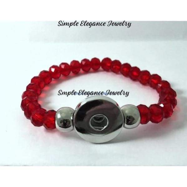8mm Red Bead Snap Charm Bracelet 20mm Snaps - Snap Jewelry