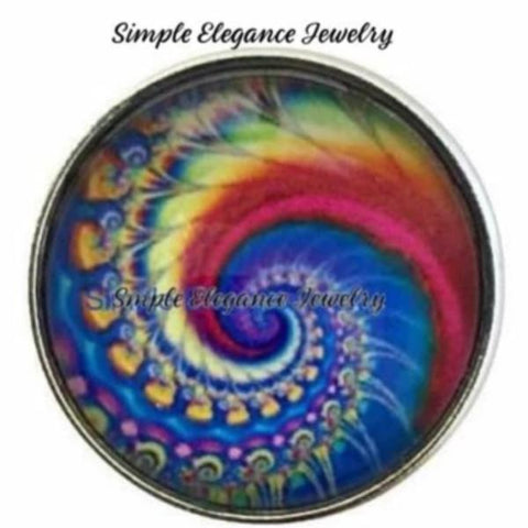 Abstract Blue Wave Snap Charm 20mm - Snap Jewelry