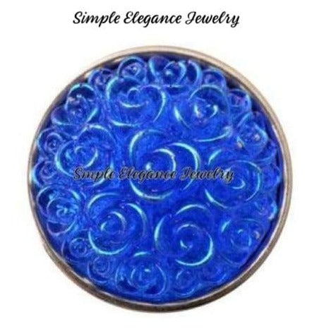 Acrylic Rose Snap 18mm for Snap Jewelry - Blue - Snap Jewelry