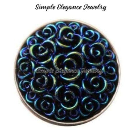 Acrylic Rose Snap 18mm for Snap Jewelry - Dark Teal - Snap Jewelry