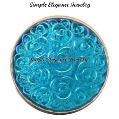 Acrylic Rose Snap 18mm for Snap Jewelry - Turquoise - Snap Jewelry