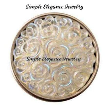 Acrylic Rose Snap 18mm for Snap Jewelry - White - Snap Jewelry