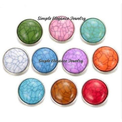 Acrylic Turquoise Cracked Snap Button 20mm for Snap Jewelry - Snap Jewelry