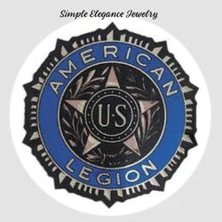 American Legion Blue Snap Charm 20mm - Snap Jewelry