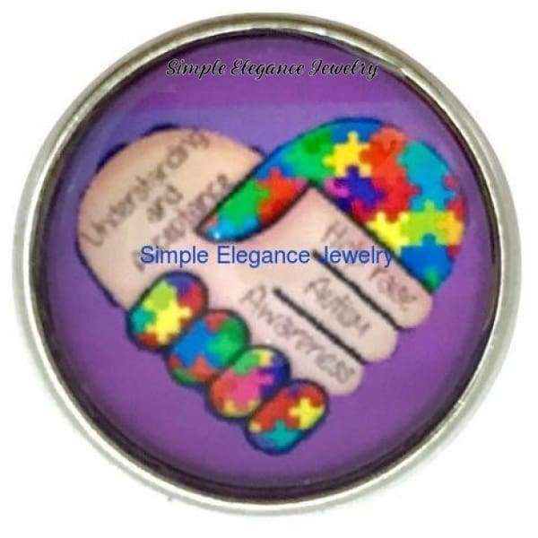 Autism Awareness Snap Charm 20mm for Snap Jewelry (4095) - Snap Jewelry