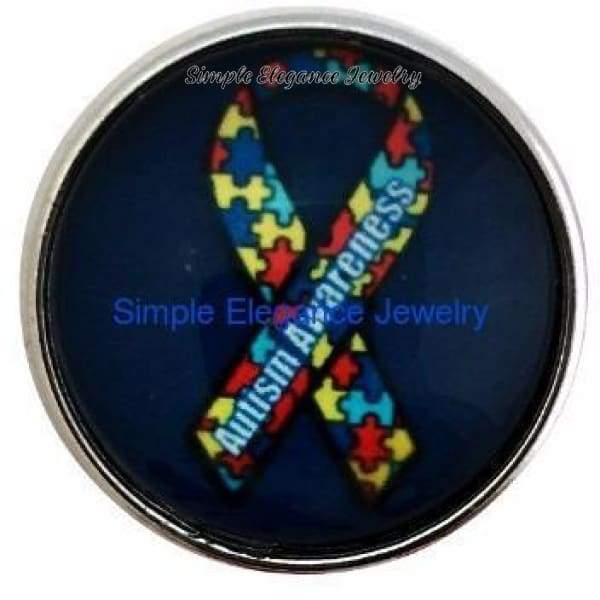 Autism Ribbon Snap 20mm - Snap Jewelry