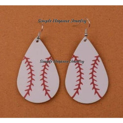 Baseball Vinyl Teardrop Earrings - Earrings