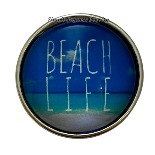 Beach Life Snap Charm 20mm - Snap Jewelry