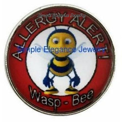 Bee-Wasp Allergy Alert Snap 20mm for Snap Jewelry - Snap Jewelry