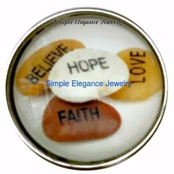 Believe-Hope-Love-Faith Snap Charm 20mm for Snap Charm - Snap Jewelry