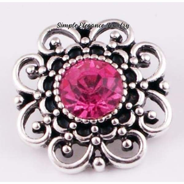 Birthstone Filigree Snap 20mm Buttons - Dark Pink - Snap Jewelry