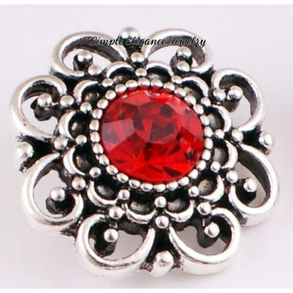Birthstone Filigree Snap 20mm Buttons - Garnet - Snap Jewelry