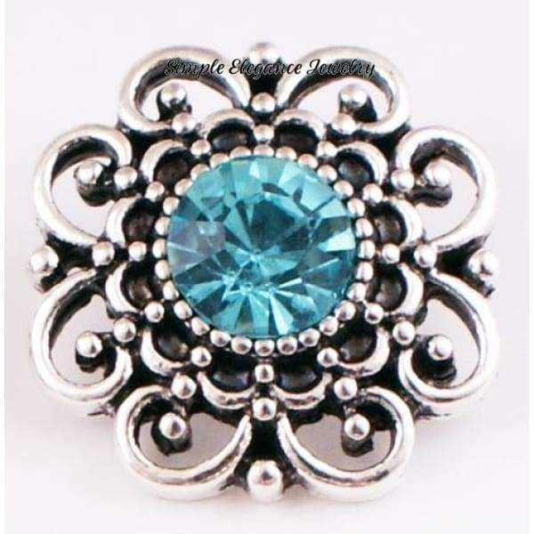 Birthstone Filigree Snap 20mm Buttons - Turquoise - Snap Jewelry