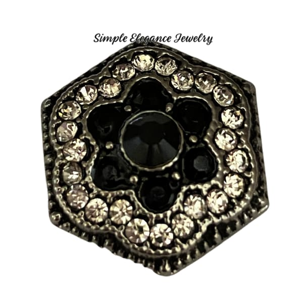 Black and Clear Hexagon Snap Charm 20mm - Snap Jewelry