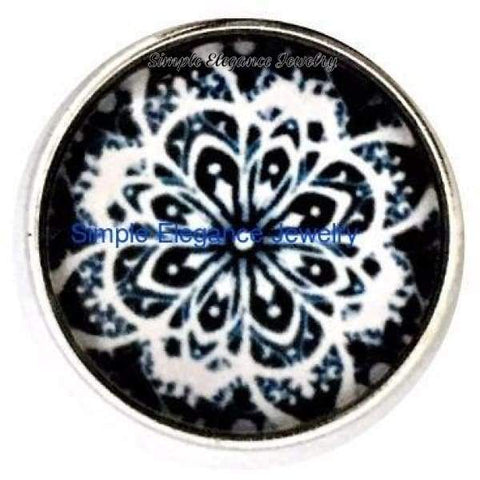 Black and White Abstract Snap 20mm for Snap Charm Jewelry - Snap Jewelry