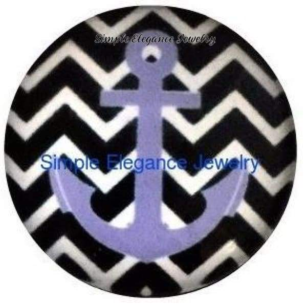 Black Chevron Purple Anchor Snap 20mm for Snap Jewelry(1198) - Snap Jewelry