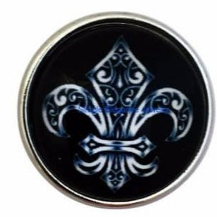 Black Fleur-de-lis Snap 20mm for Snap Jewelry - Snap Jewelry