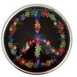 Black Flower Peace Sign 20mm for Snap Jewelry - Snap Jewelry