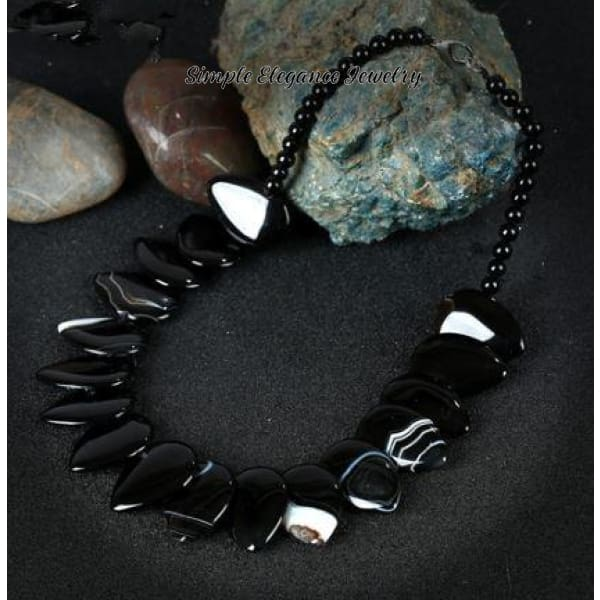 Black Onyx Natural Stone Necklace (Optional Bracelet) - Necklace - Natural Stone Necklaces