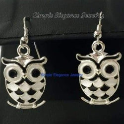 Black-White Enamel Owl Earrings - Earrings