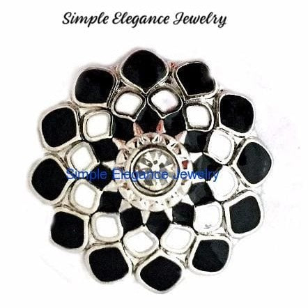 Black-White Enamel Snap 20mm for Snap Jewelry - Snap Jewelry