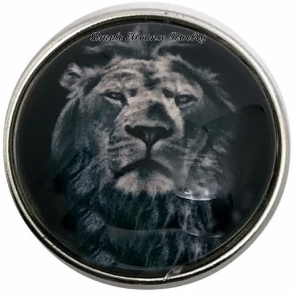 Black-White Lion Face Snap 20mm for Snap Jewelry - Snap Jewelry