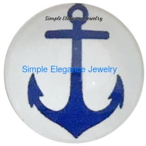 Blue Anchor Snap Charm 18mm for Snap Charm Jewelry - Snap Jewelry