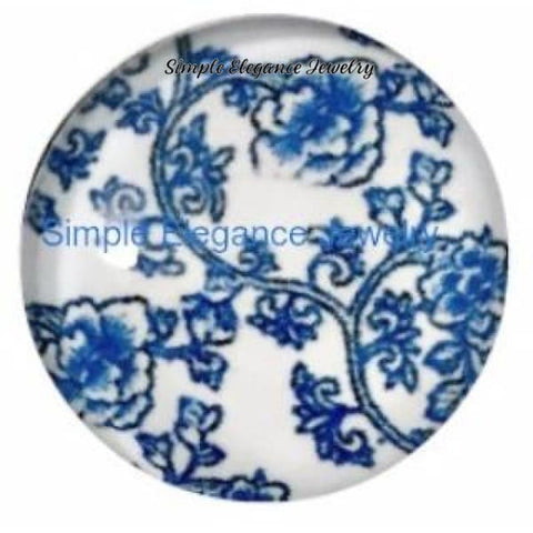 Blue and White Floral Snap Charm 18mm - Snap Jewelry