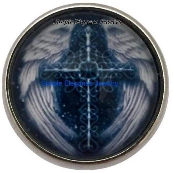 Blue Angel Wing Cross Snap 20mm for Snap Jewelry - Snap Jewelry
