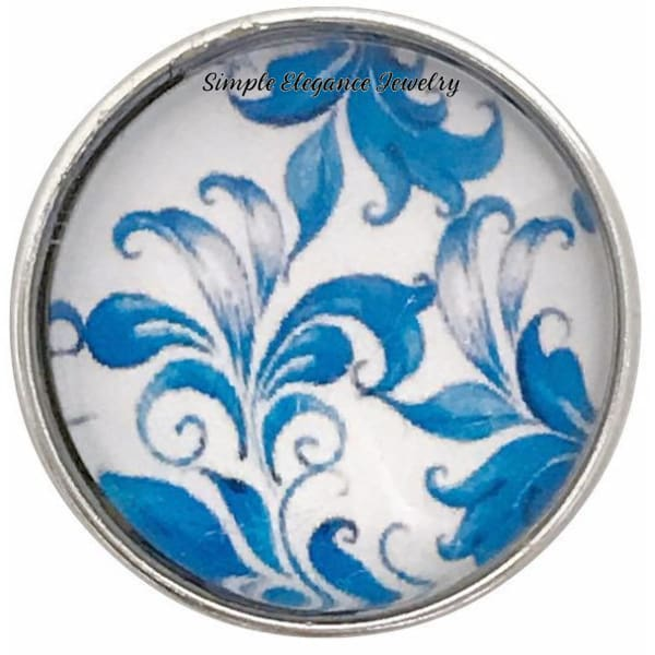 Blue Floral Snap Collection 20mm (5 Choices) for Snap Jewelry - 102 - Snap Jewelry