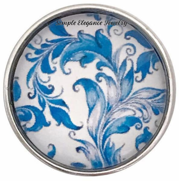 Blue Floral Snap Collection 20mm (5 Choices) for Snap Jewelry - 103 - Snap Jewelry