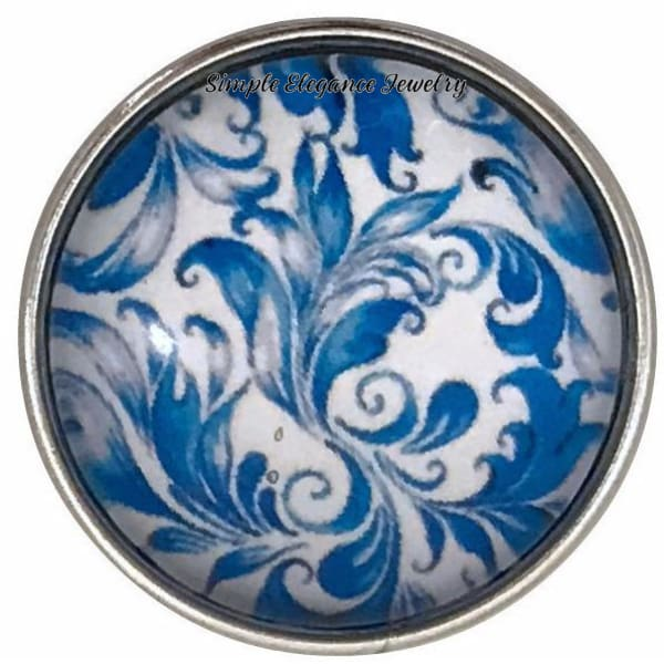 Blue Floral Snap Collection 20mm (5 Choices) for Snap Jewelry - 105 - Snap Jewelry