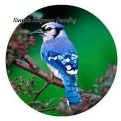 Blue Jay Bird Snap 20mm and 12mm Minis for Snap Jewelry - 20mm - Snap Jewelry