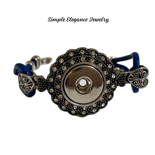 Blue Leather Rhinestone Single Snap Bracelet 20mm - Snap Jewelry