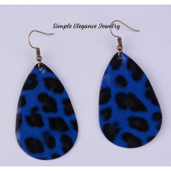Blue Leopard Vinyl Teardrop Earrings - Earrings