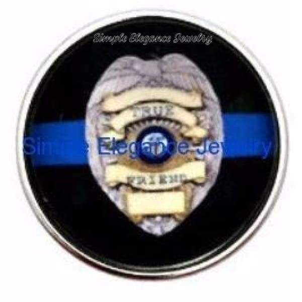 Blue Line Police Badge Snap 20mm for Snap Jewelry (3064) - Snap Jewelry