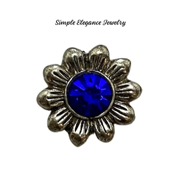 Blue Rhinestone Flower 12mm MINI Snap - Snap Jewelry