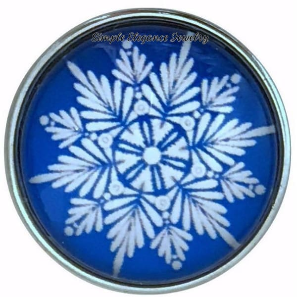 Blue Snowflake Collection Snap Charm 20mm (Choice of 12) - 101 - Snap Jewelry
